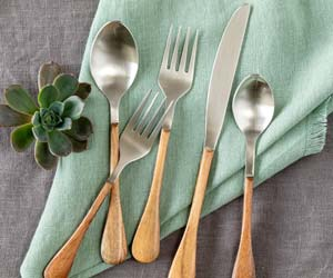 Wood-Handled Stainless Flatware, Boxed Set of 5