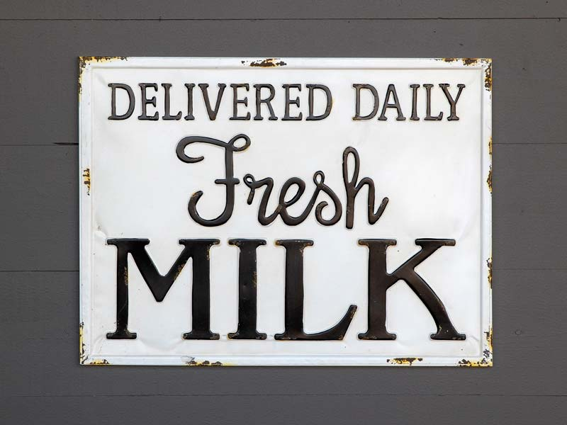 Metal Milk Delivery Sign