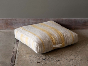 Linen Floor Cushion With Handle, Natural/Yellow